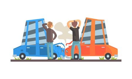 Two cars had an accident. Vector illustration.