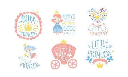 Set of pink lettering and cute pictures for girls. Vector illustration.