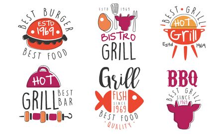 Set of icons for grill and barbecue bar. Vector illustration.
