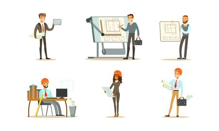 Set of images of an engineer at work. Vector illustration.