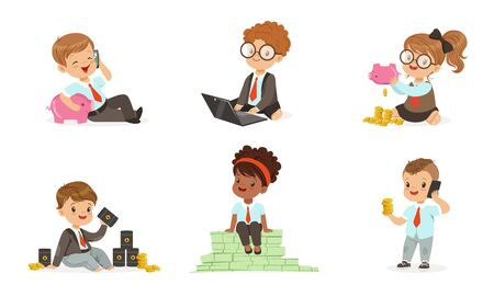 Cute little children in the role of businessmen with a bunch of bills, coins, oil barrels and piggy banks. Set of vector illustrations. Ilustrace