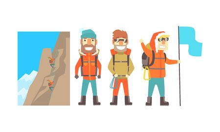 Three male climbers in warm orange jackets near a high mountain. Vector illustration on a white background.