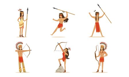 Cartoon Indians in national dress with a bandage on their heads, bows and spears. Set of vector illustrations. Illusztráció