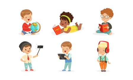 Little children with a globe, books, a smartphone and a tablet. Vector illustration on a white background.