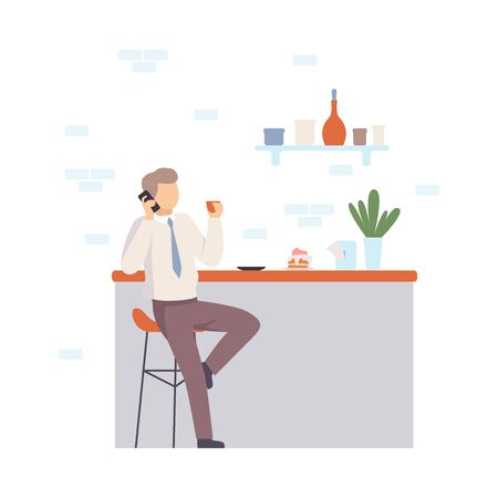 Man in a white shirt and red tie sits near the bar and talks on the phone. Vector illustration.