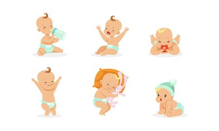 Babys daily routine. Drinking from a bottle, crying, sleeping, sucking a pacifier. Vector illustration on a white background.