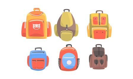 Set of full closed orange and brown fabric backpacks for a walk. Vector illustration on a white background. Ilustracja