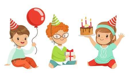Toddlers birthday people with a balloon, cake and gift. Vector illustration on a white background.