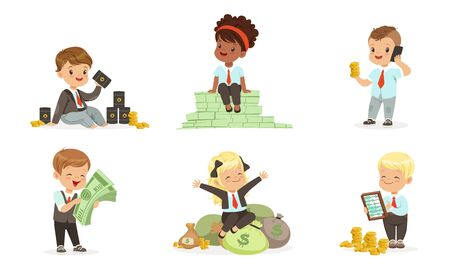 Cute toddlers in suits of businessmen with bundles of green notes, zloty coins, bags of money and barrels of oil. Set of vector illustrations.