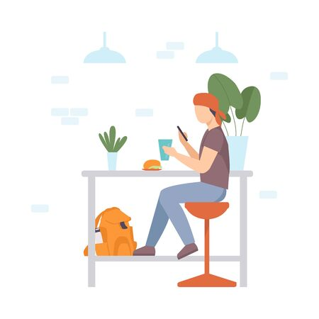 Teenager boy in a red bandana sits on a high chair at a table in a cafe and holds a smartphone and a glass in his hands. Vector illustration.