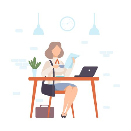 Woman at a table in a cafe drinks coffee and reads on a sheet of paper. Nearby is an open laptop. Vector illustration. Stock Illustratie