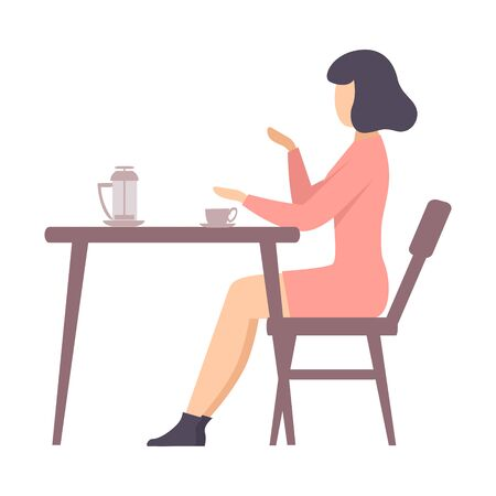 Woman in a pink dress sits at a table with a teapot and a cup in a cafe. Vector illustration. Çizim