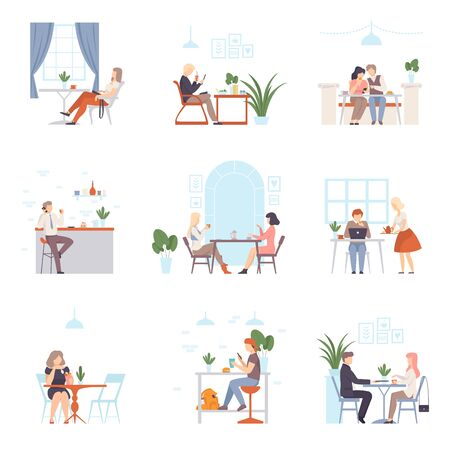 Men and women, in pairs and one at a time, relax and work on a laptop in a cafe. Set of vector illustrations.