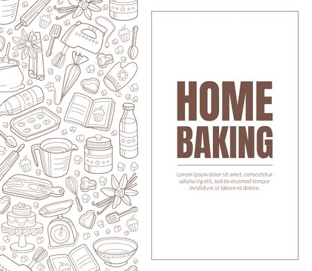 Leaflet with a brown inscription Home baking. Brown background from white contours of kitchen appliances. Vector illustration on a white background.