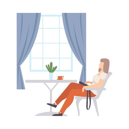 Woman sits in a chair at a table in a cafe near a large window with blue curtains. Vector illustration.