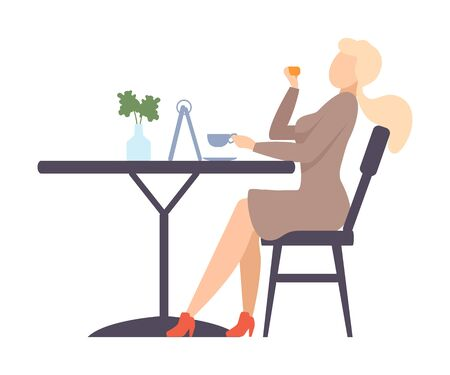 Woman in a beige dress drinks coffee and eats a bun at a table in a cafe. Vector illustration.