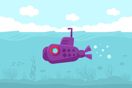 Purple submarine with a red porthole floats in the water. At the bottom are silhouettes of algae and fish. Vector illustration.