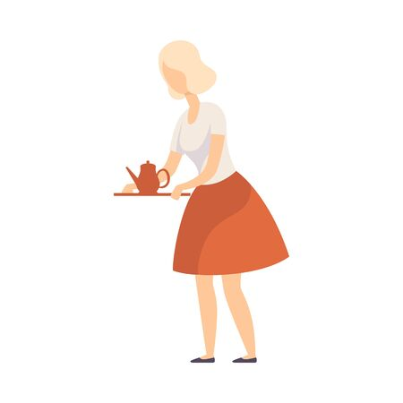 Blond woman in a lush red skirt holds a tray with a teapot. Vector illustration.