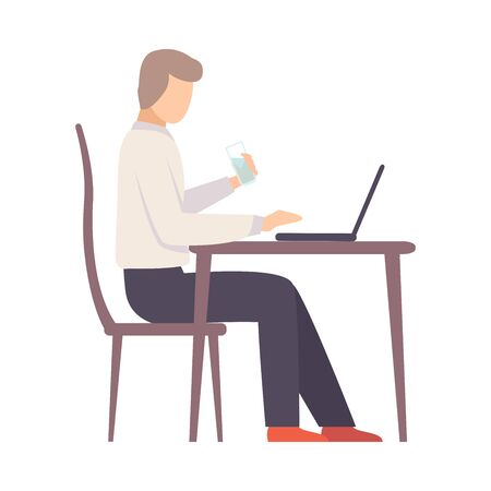 Man holds a glass of water and works on a laptop at the table. Vector illustration.