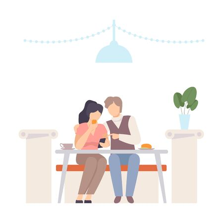 Man with a woman at a table in a cafe looking at a smartphone. Vector illustration. Illustration