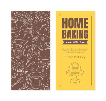 Home bakery flyer. Inscription, address and background of the contours of kitchen appliances. Vector illustration.