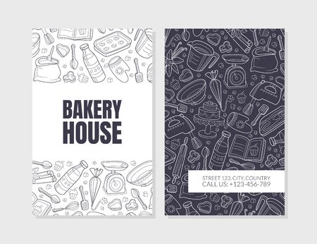 Bakery advertising. The inscription Baking House and a pattern on a black background from the white contours of kitchen utensils. Vector illustration. 版權商用圖片 - 134691505
