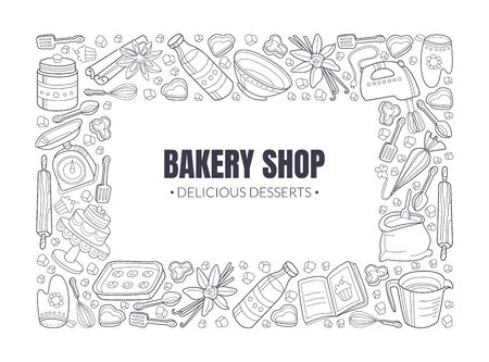 Black inscription Bakery shop in a white rectangle. Around the frame of the silhouettes of kitchen utensils. Vector illustration. 版權商用圖片 - 134691506