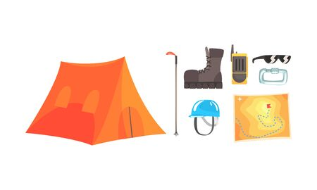 Orange tent and walkie-talkie, map, boots, sunglasses. Vector illustration on a white background. Illustration