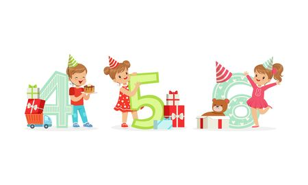 Children in party hats are standing next to large numbers of their age. Four, five and six years. Vector illustration on a white background.