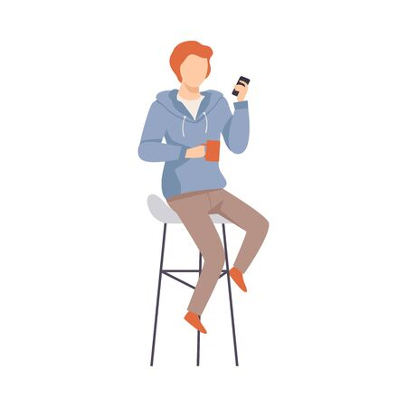 Man with a red mug and a smartphone sits on a high chair. Vector illustration. Çizim