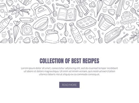 Template for a collection of the best recipes with text and a pattern of black outlines of kitchen appliances. Vector illustration on a white background. 版權商用圖片 - 134691509