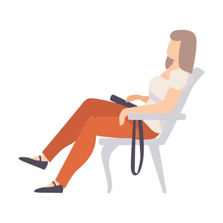 Young woman in red pants is resting on a gray chair. Handbag lies on her knees. Vector illustration.