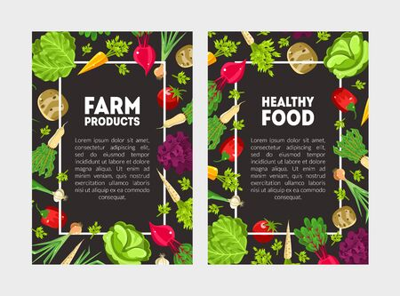 Leaflets with a frame of vegetables and herbs. White lettering Farm product and Healthy food on a black background. Vector illustration. Ilustracja