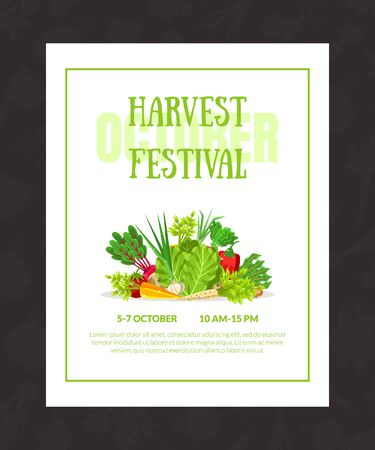 White invitation to the Vintage festival with green inscriptions, date and venue. Decorated with different vegetables. Vector illustration on a black background.