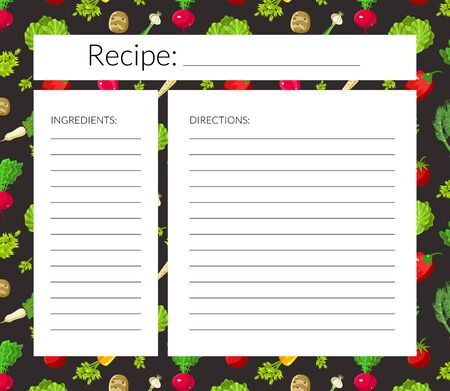 Card with a place for recording recipes. Vector illustration.