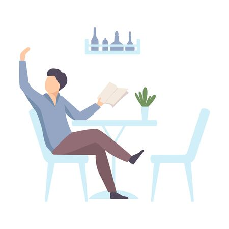 Man sits at a table in a cafe, holds a menu and calls a waiter. Vector illustration. Illustration