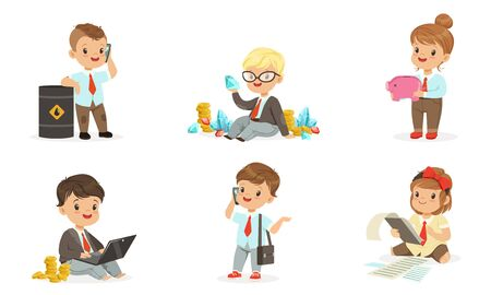 Children in the role of businessmen with a bunch of notes, coins and diamonds. Set of vector illustrations.