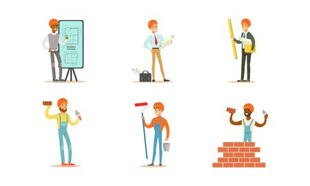 Male builders and engineers with tools present the project and build a wall of bricks. Vector illustration on a white background.