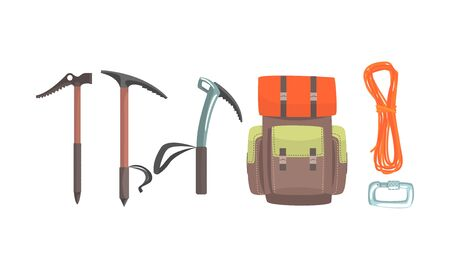 Climbing tool kit, backpack and rope. Vector illustration on a white background.