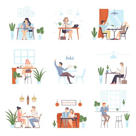 Couples and single men and women relax in a cafe. Set of vector illustrations.