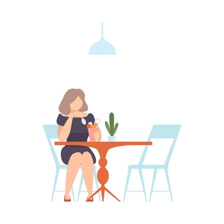 Woman in a black dress at a table in a cafe eats ice cream from a glass. Vector illustration. Illustration