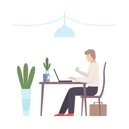Man sits at a table with a glass of water and works on a laptop in a cafe. Vector illustration.