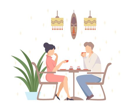 Woman in a pink dress and a man are drinking coffee with cakes in a cafe with ethnic decorations. Vector illustration. Illustration