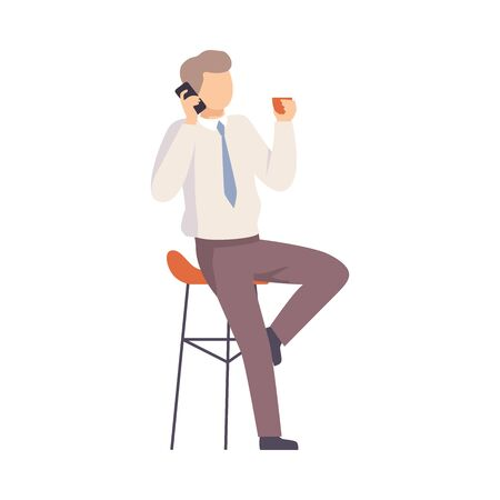 Male office worker talking on the phone. Vector illustration.