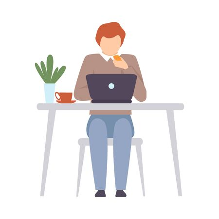 Man with a laptop sits at a table. Vector illustration. Çizim