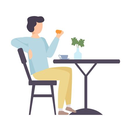 Man eats a bun at the table. Vector illustration. Illustration