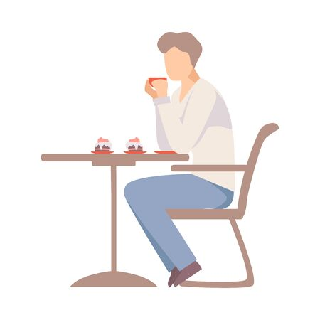 Man drinks coffee at a table in a cafe. Vector illustration.