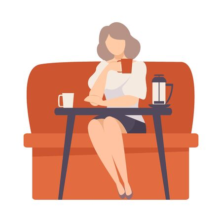 Woman sits on a red sofa at a table in a cafe. Vector illustration.