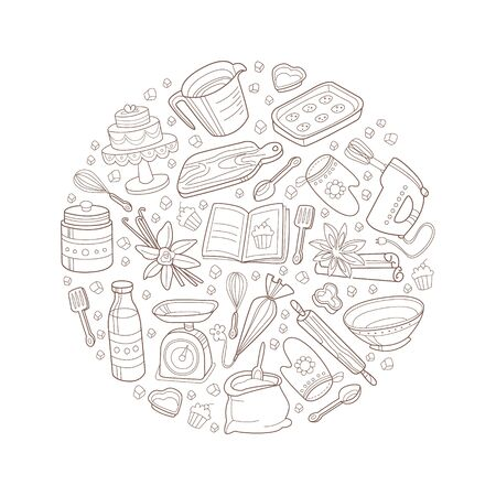 Circle with a pattern of kitchen items. Vector illustration.