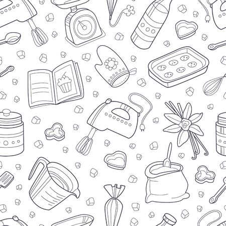 Pattern from the contours of kitchen items. Vector illustration. 版權商用圖片 - 134691439